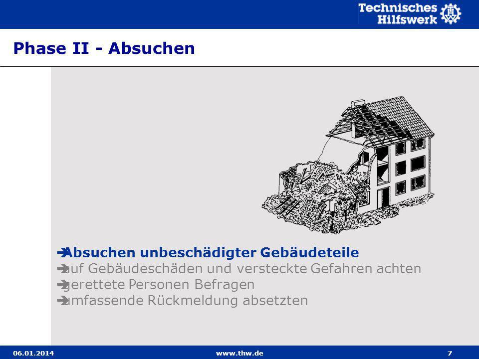 06.01.2014www.thw.de8 Absuchen unbeschädigter Gebäudeteile