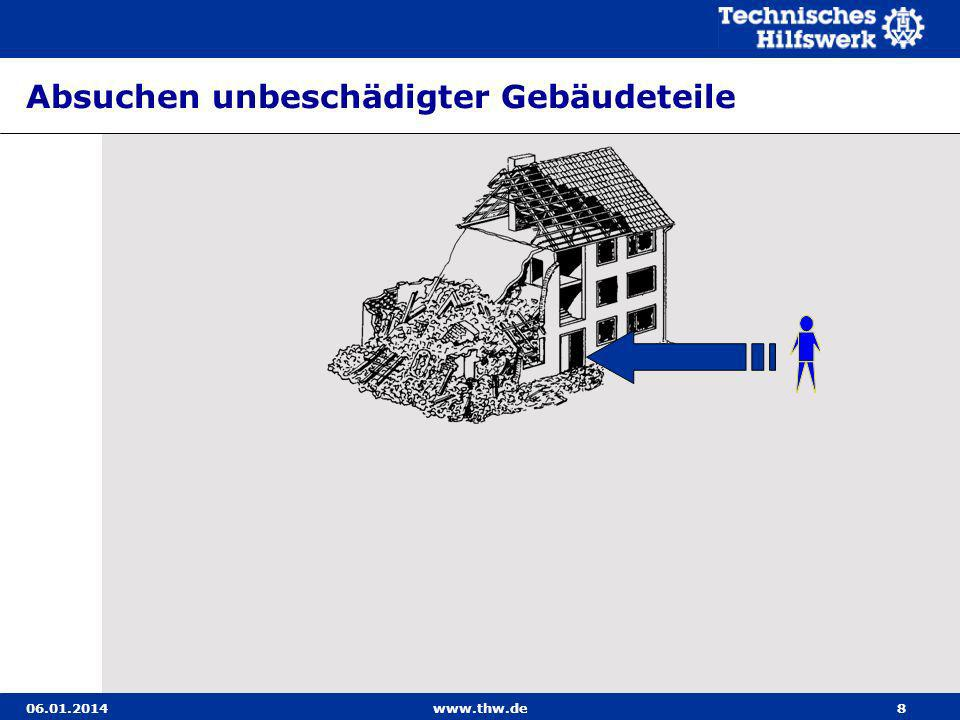 06.01.2014www.thw.de109 Behelfstragen Wenn die Transportmittel des Technischen Zuges nicht ausreichen, müssen aus Hilfsmitteln Behelfstragen hergestellt werden.