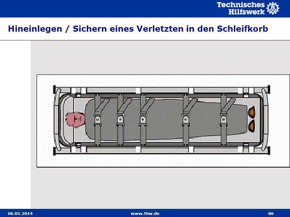 06.01.2014www.thw.de86 Hineinlegen / Sichern eines Verletzten in den Schleifkorb