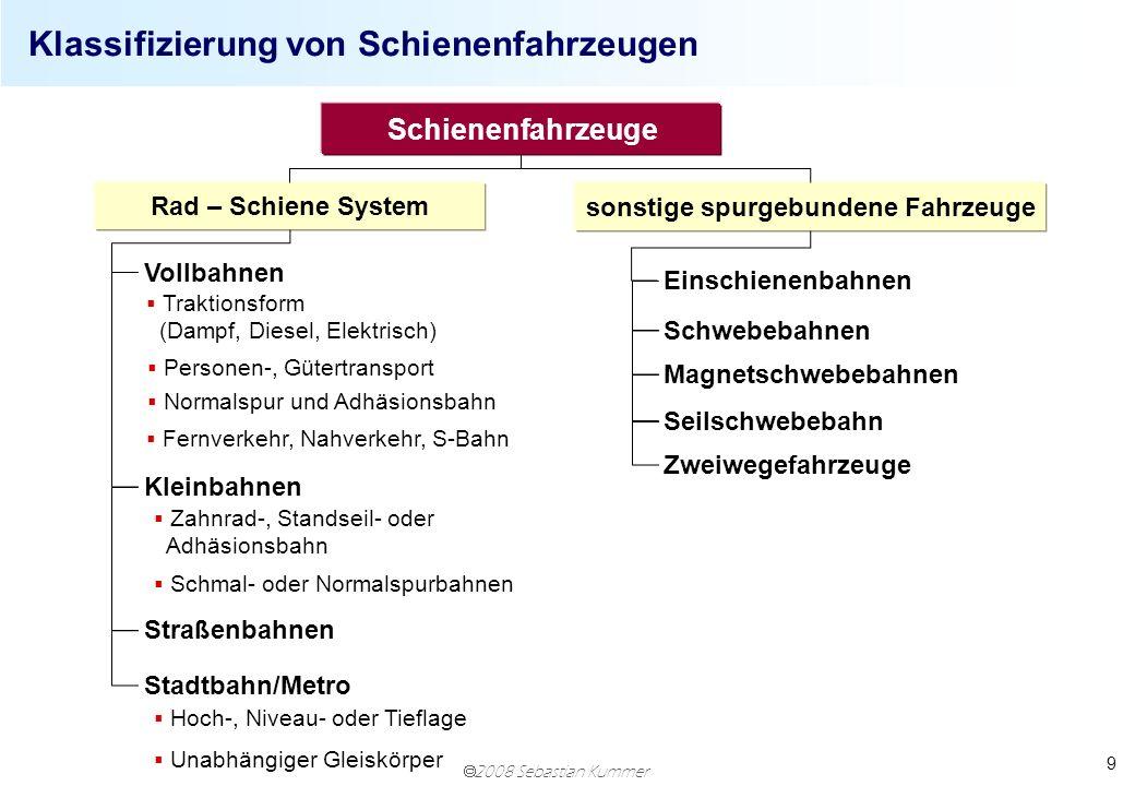 2008 Sebastian Kummer 9 Klassifizierung von Schienenfahrzeugen Schienenfahrzeuge Traktionsform (Dampf, Diesel, Elektrisch) Personen-, Gütertransport E