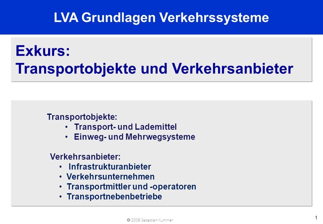2008 Sebastian Kummer 1 Exkurs: Transportobjekte und Verkehrsanbieter Transportobjekte: Transport- und Lademittel Einweg- und Mehrwegsysteme Verkehrsa