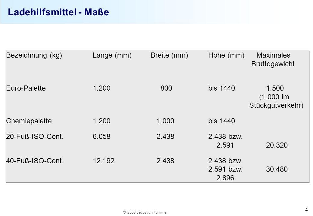 2008 Sebastian Kummer 4 Ladehilfsmittel - Maße Bezeichnung (kg)Länge (mm)Breite (mm)Höhe (mm) Maximales Bruttogewicht Euro-Palette 1.200 800bis 14401.