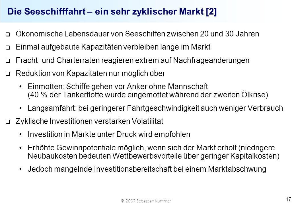 2007 Sebastian Kummer 17 Die Seeschifffahrt – ein sehr zyklischer Markt [2] q Ökonomische Lebensdauer von Seeschiffen zwischen 20 und 30 Jahren q Einm