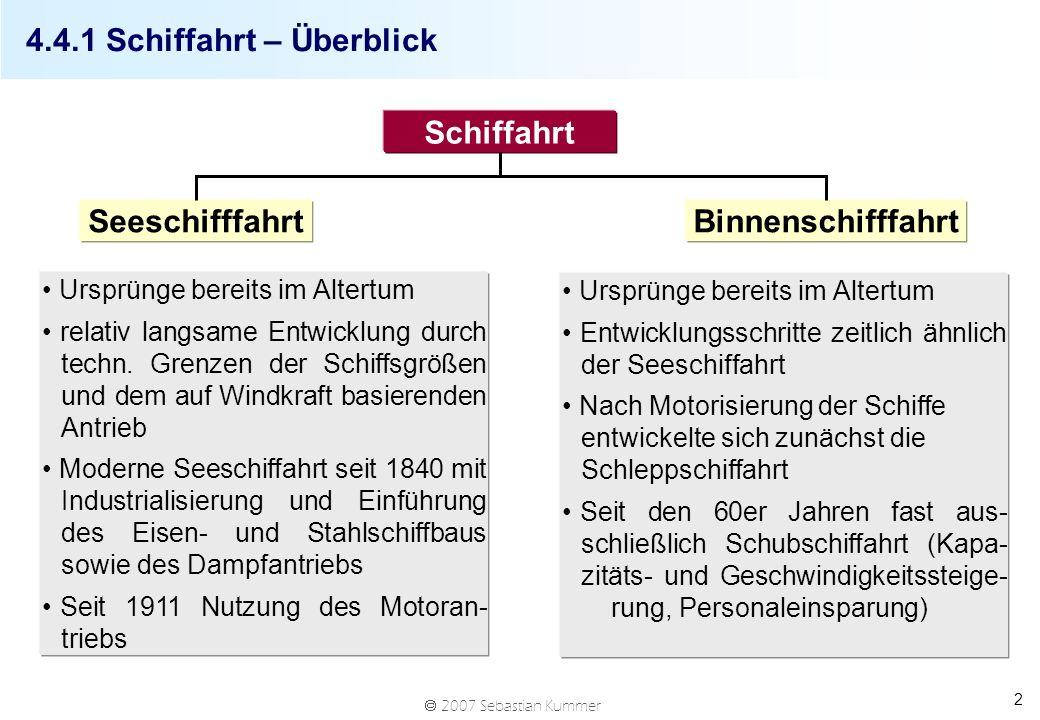 2007 Sebastian Kummer 2 4.4.1 Schiffahrt – Überblick Schiffahrt SeeschifffahrtBinnenschifffahrt Ursprünge bereits im Altertum relativ langsame Entwicklung durch techn.