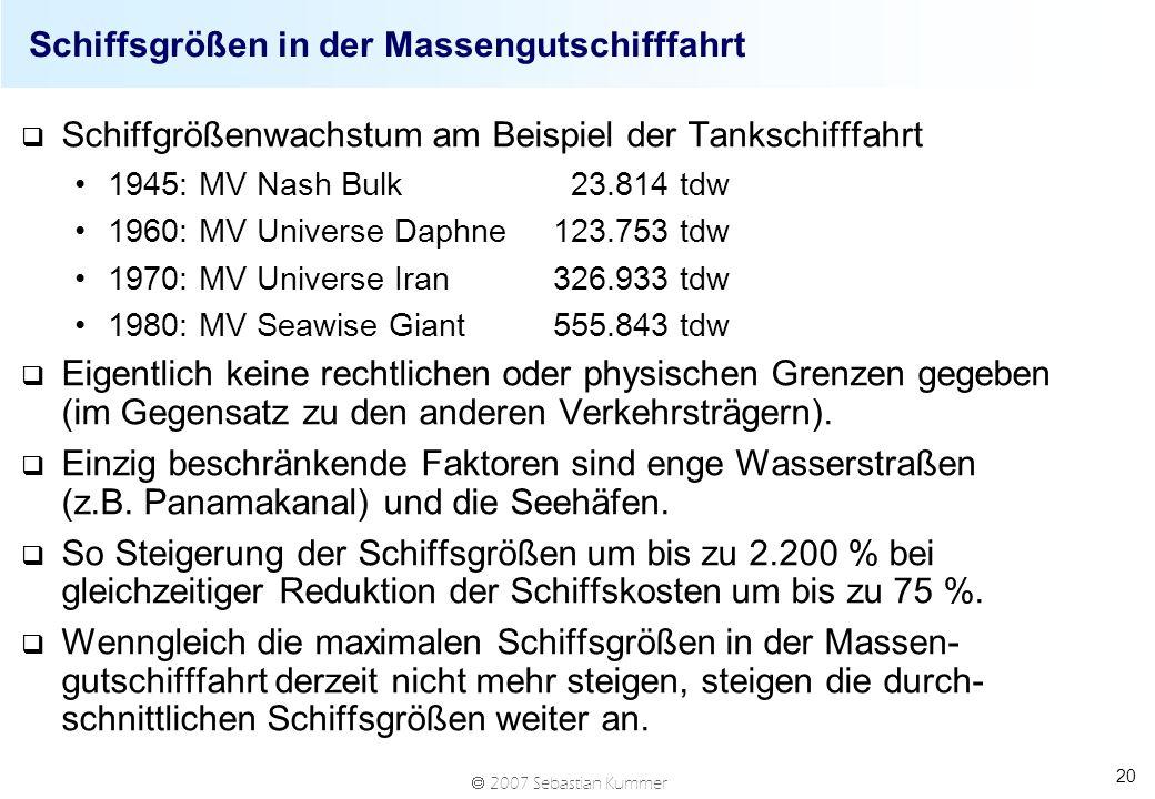 2007 Sebastian Kummer 20 Schiffsgrößen in der Massengutschifffahrt q Schiffgrößenwachstum am Beispiel der Tankschifffahrt 1945: MV Nash Bulk 23.814 td