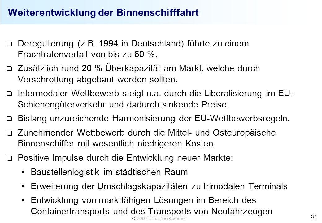 2007 Sebastian Kummer 37 Weiterentwicklung der Binnenschifffahrt q Deregulierung (z.B. 1994 in Deutschland) führte zu einem Frachtratenverfall von bis