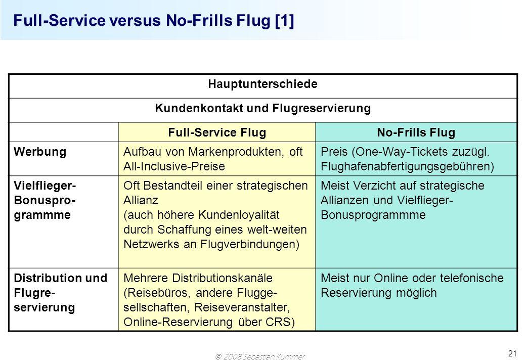 2008 Sebastian Kummer 21 Full-Service versus No-Frills Flug [1] Hauptunterschiede Kundenkontakt und Flugreservierung Full-Service FlugNo-Frills Flug W