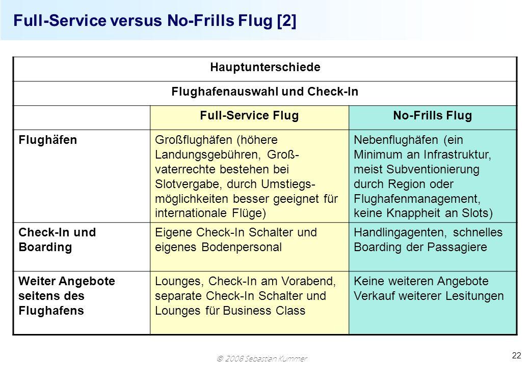 2008 Sebastian Kummer 22 Full-Service versus No-Frills Flug [2] Hauptunterschiede Flughafenauswahl und Check-In Full-Service FlugNo-Frills Flug Flughä