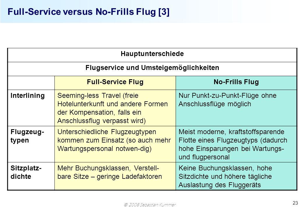 2008 Sebastian Kummer 23 Full-Service versus No-Frills Flug [3] Hauptunterschiede Flugservice und Umsteigemöglichkeiten Full-Service FlugNo-Frills Flu