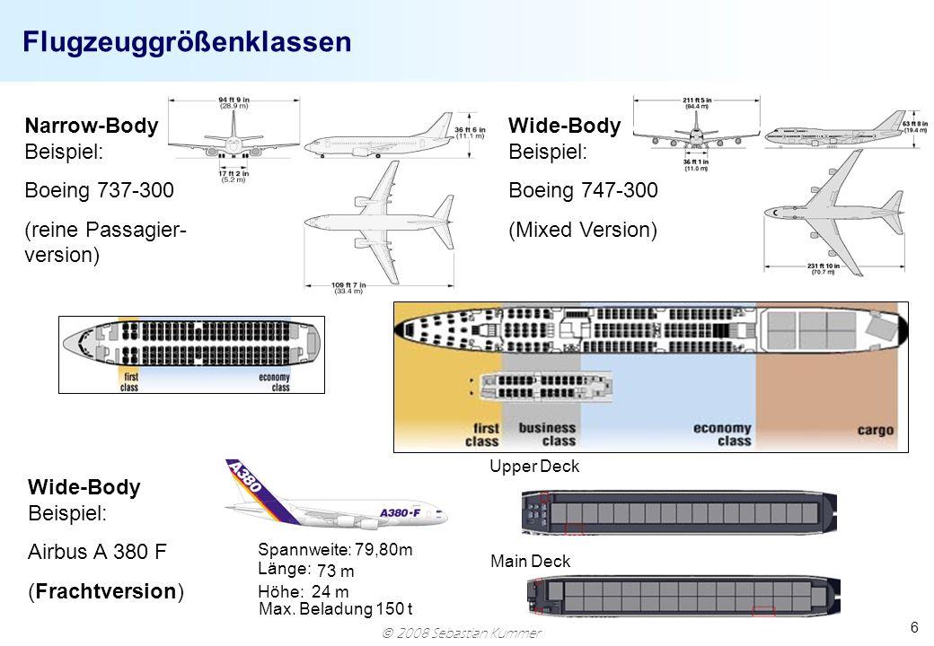 2008 Sebastian Kummer 6 Flugzeuggrößenklassen Spannweite: 79,80m Länge: 73 m Höhe: 24 m Narrow-Body Beispiel: Boeing 737-300 (reine Passagier- version