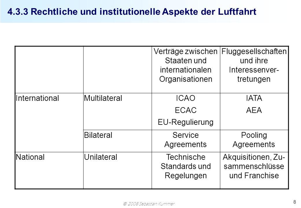 2008 Sebastian Kummer 8 4.3.3 Rechtliche und institutionelle Aspekte der Luftfahrt Verträge zwischen Staaten und internationalen Organisationen Flugge