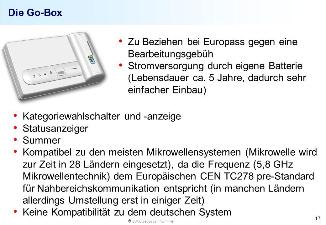 2008 Sebastian Kummer 17 Die Go-Box Kategoriewahlschalter und -anzeige Statusanzeiger Summer Kompatibel zu den meisten Mikrowellensystemen (Mikrowelle
