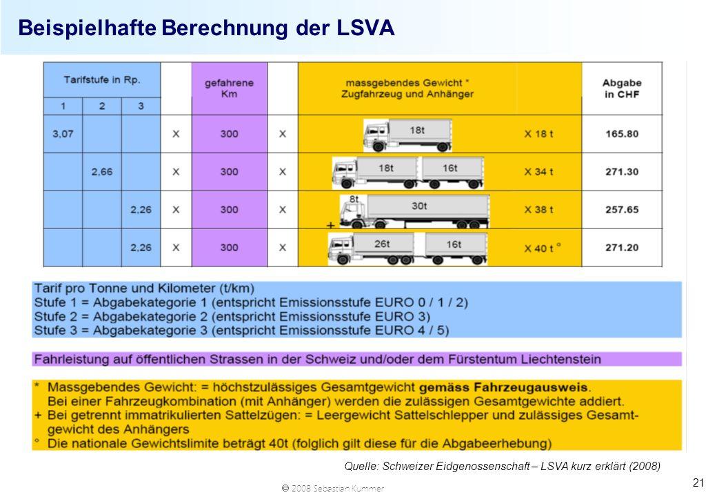 2008 Sebastian Kummer Beispielhafte Berechnung der LSVA 21 Quelle: Schweizer Eidgenossenschaft – LSVA kurz erklärt (2008)