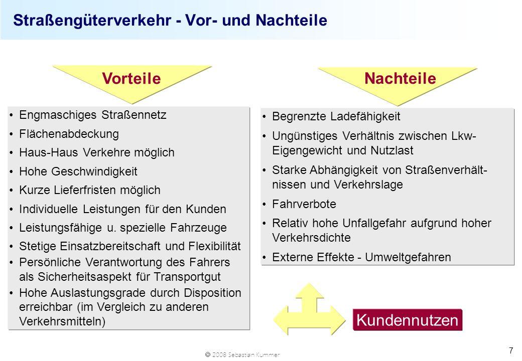 2008 Sebastian Kummer 7 Straßengüterverkehr - Vor- und Nachteile Begrenzte Ladefähigkeit Ungünstiges Verhältnis zwischen Lkw- Eigengewicht und Nutzlas