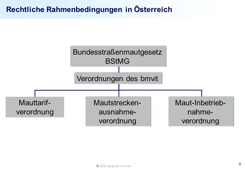2008 Sebastian Kummer 9 Rechtliche Rahmenbedingungen in Österreich Bundesstraßenmautgesetz BStMG Verordnungen des bmvit Mauttarif- verordnung Mautstre