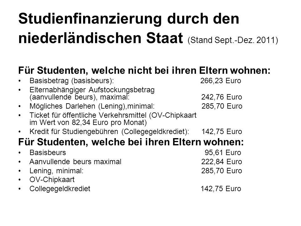 Studienfinanzierung durch den niederländischen Staat (Stand Sept.-Dez. 2011) Für Studenten, welche nicht bei ihren Eltern wohnen: Basisbetrag (basisbe