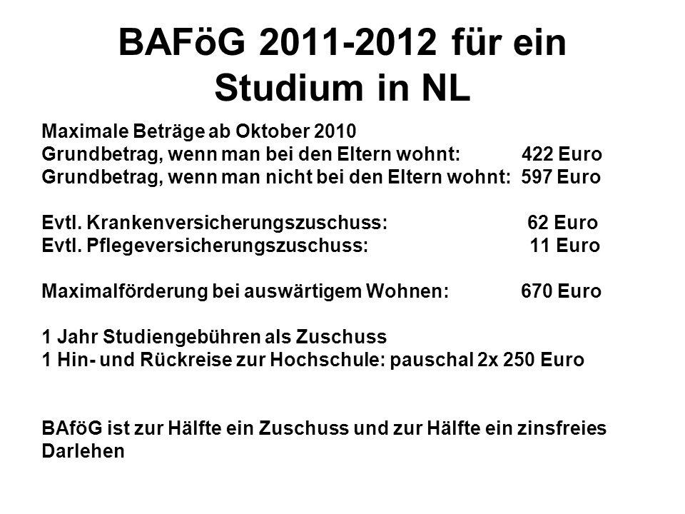 BAFöG 2011-2012 für ein Studium in NL Maximale Beträge ab Oktober 2010 Grundbetrag, wenn man bei den Eltern wohnt: 422 Euro Grundbetrag, wenn man nich