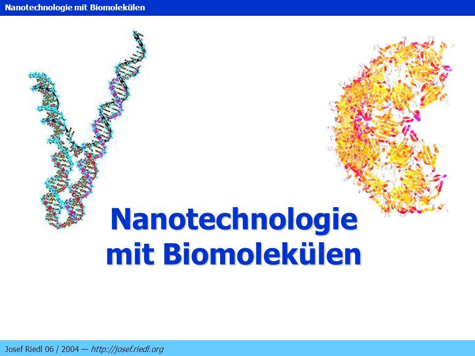 Nanotechnologie mit Biomolekülen Josef Riedl 06 / 2004 http://josef.riedl.org Nanotechnologie mit Biomolekülen