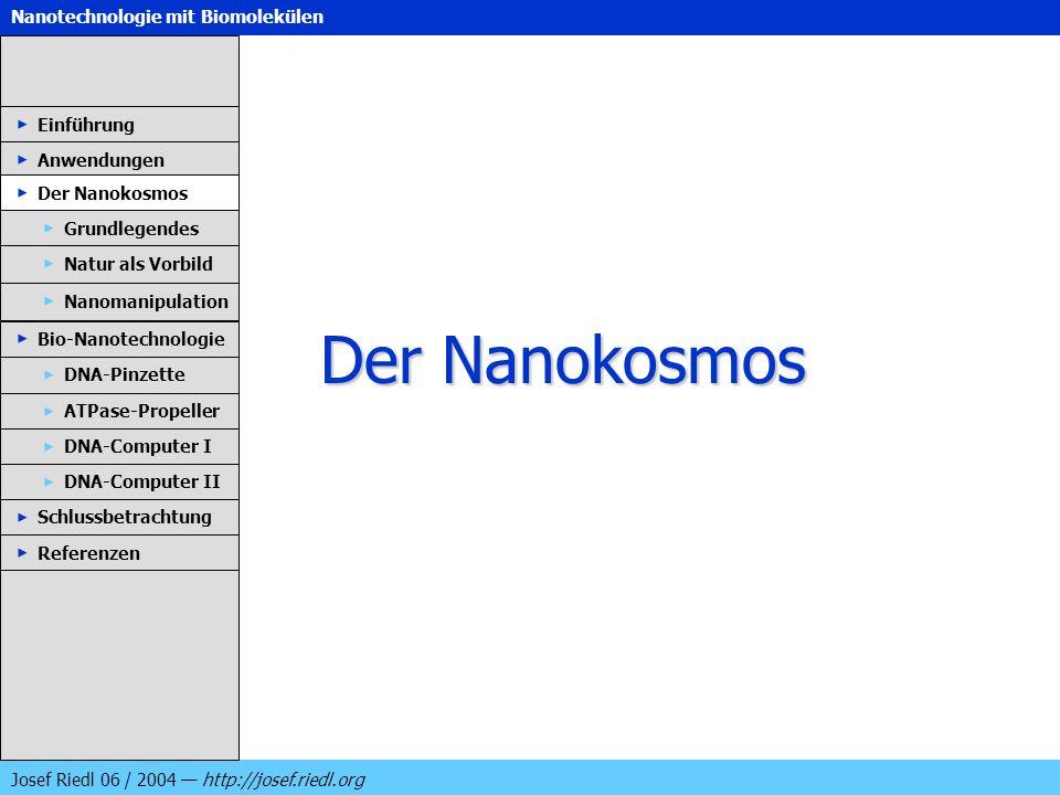 Nanotechnologie mit Biomolekülen Josef Riedl 06 / 2004 http://josef.riedl.org Der Nanokosmos Einführung Anwendungen Der Nanokosmos DNA-Pinzette ATPase
