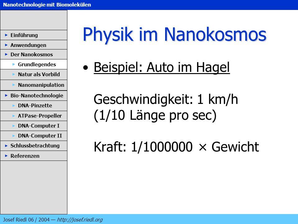 Nanotechnologie mit Biomolekülen Josef Riedl 06 / 2004 http://josef.riedl.org Physik im Nanokosmos Beispiel: Auto im Hagel Geschwindigkeit: 1 km/h (1/