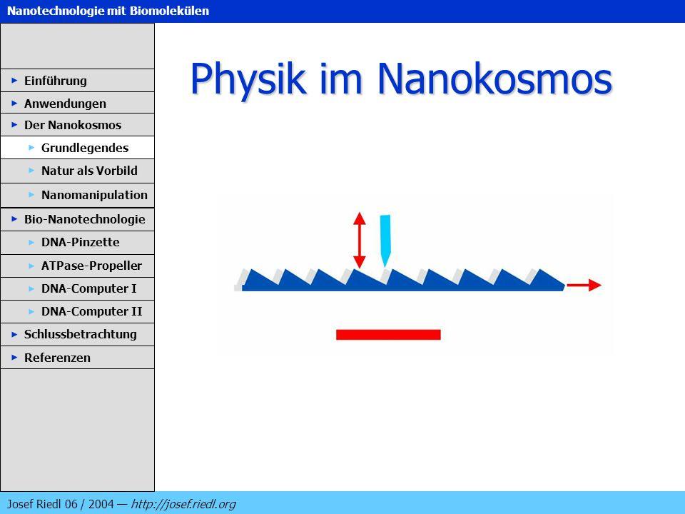 Nanotechnologie mit Biomolekülen Josef Riedl 06 / 2004 http://josef.riedl.org Physik im Nanokosmos Einführung Anwendungen Der Nanokosmos DNA-Pinzette