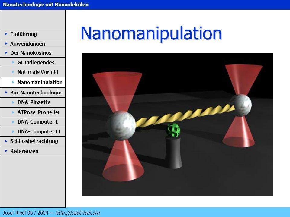 Nanotechnologie mit Biomolekülen Josef Riedl 06 / 2004 http://josef.riedl.org Nanomanipulation Einführung Anwendungen Der Nanokosmos DNA-Pinzette ATPa