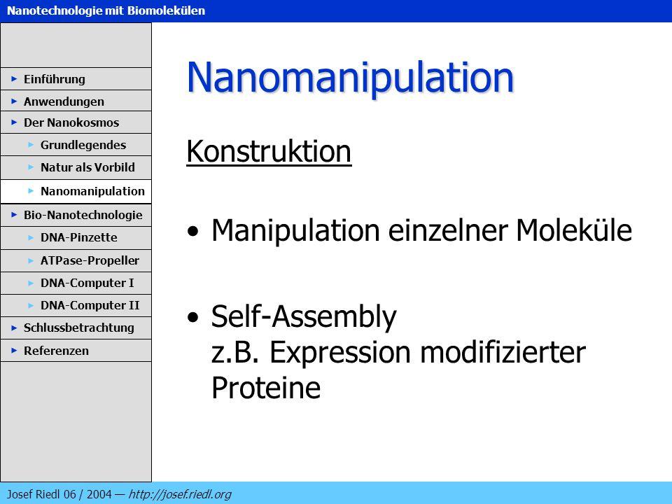 Nanotechnologie mit Biomolekülen Josef Riedl 06 / 2004 http://josef.riedl.org Nanomanipulation Konstruktion Manipulation einzelner Moleküle Self-Assem