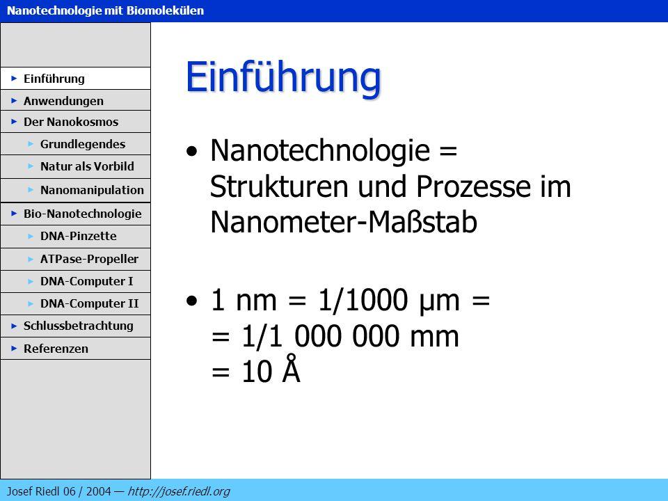 Nanotechnologie mit Biomolekülen Josef Riedl 06 / 2004 http://josef.riedl.org Einführung Nanotechnologie = Strukturen und Prozesse im Nanometer-Maßsta