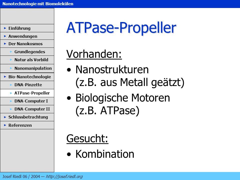 Nanotechnologie mit Biomolekülen Josef Riedl 06 / 2004 http://josef.riedl.org ATPase-Propeller Vorhanden: Nanostrukturen (z.B. aus Metall geätzt) Biol