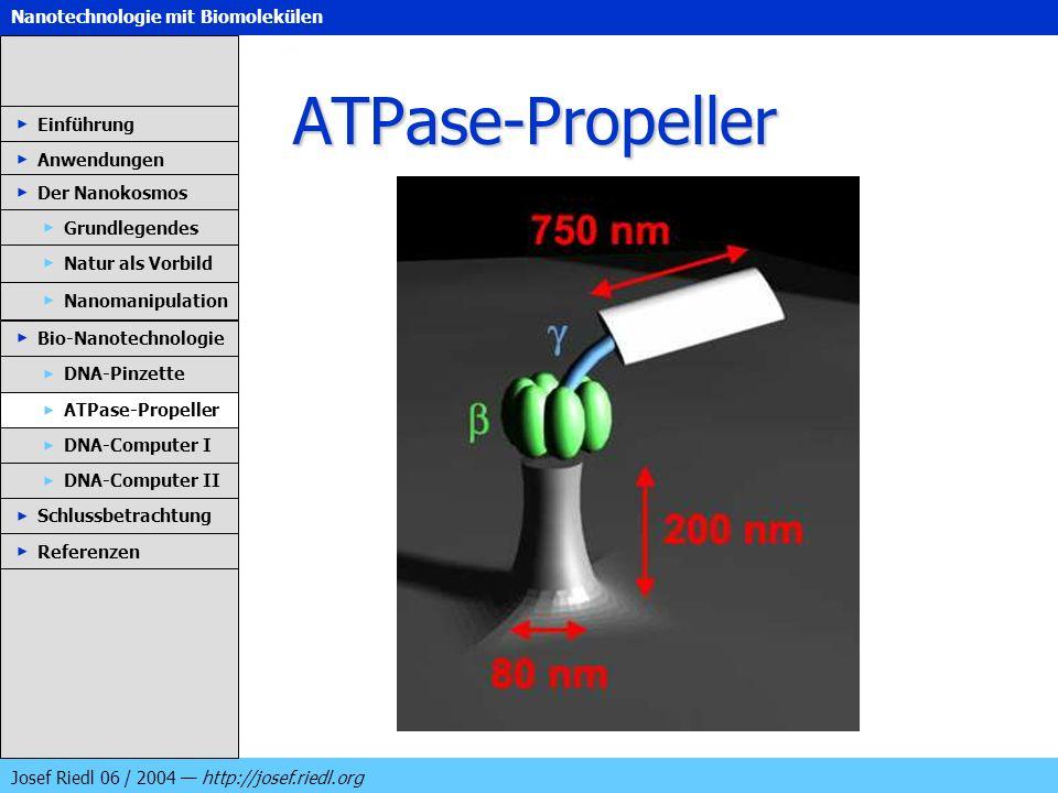 Nanotechnologie mit Biomolekülen Josef Riedl 06 / 2004 http://josef.riedl.org ATPase-Propeller Einführung Anwendungen Der Nanokosmos DNA-Pinzette ATPa