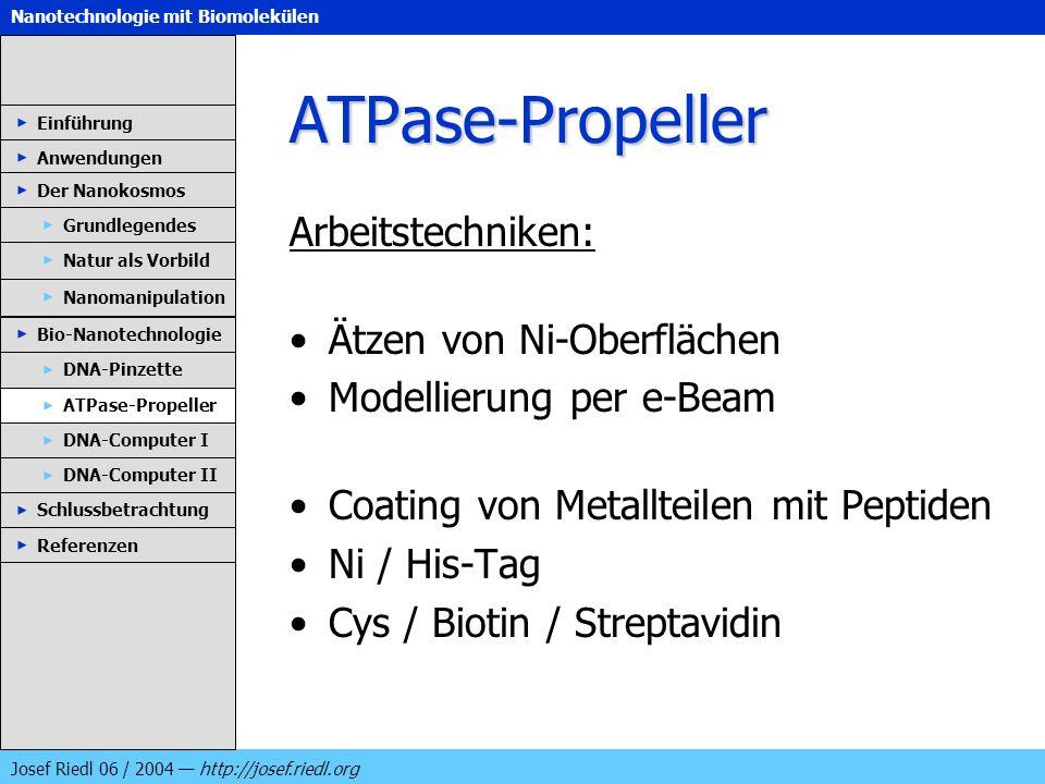 Nanotechnologie mit Biomolekülen Josef Riedl 06 / 2004 http://josef.riedl.org ATPase-Propeller Arbeitstechniken: Ätzen von Ni-Oberflächen Modellierung