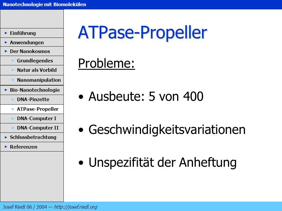 Nanotechnologie mit Biomolekülen Josef Riedl 06 / 2004 http://josef.riedl.org ATPase-Propeller Probleme: Ausbeute: 5 von 400 Geschwindigkeitsvariation