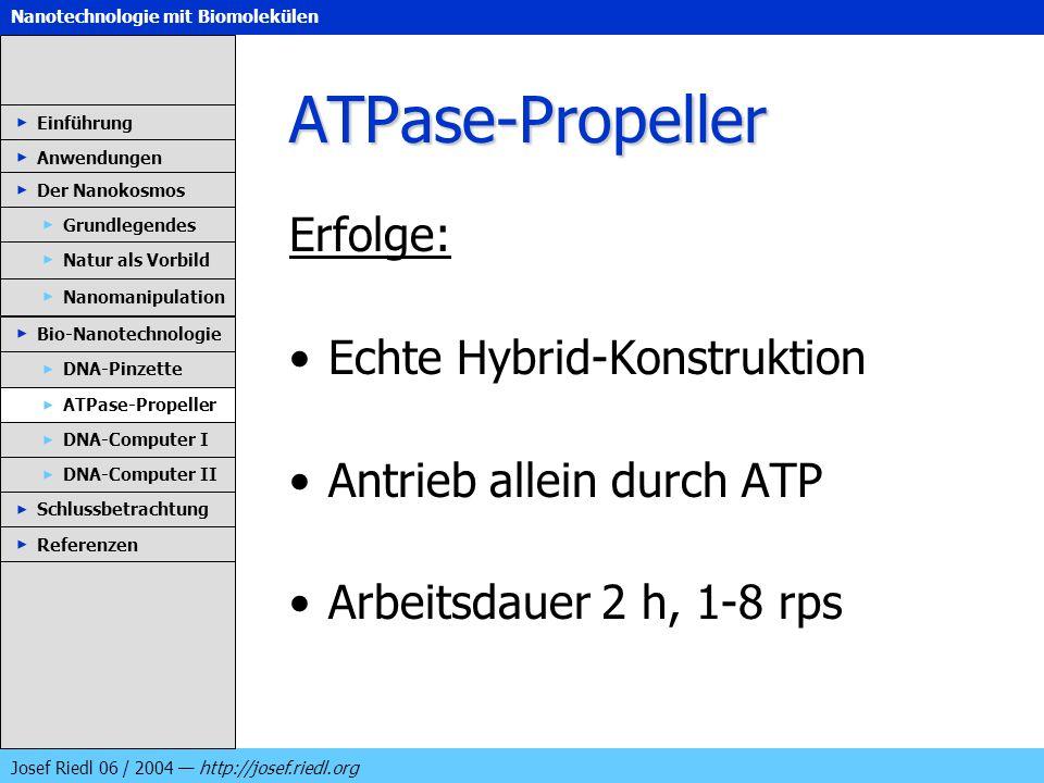 Nanotechnologie mit Biomolekülen Josef Riedl 06 / 2004 http://josef.riedl.org ATPase-Propeller Erfolge: Echte Hybrid-Konstruktion Antrieb allein durch