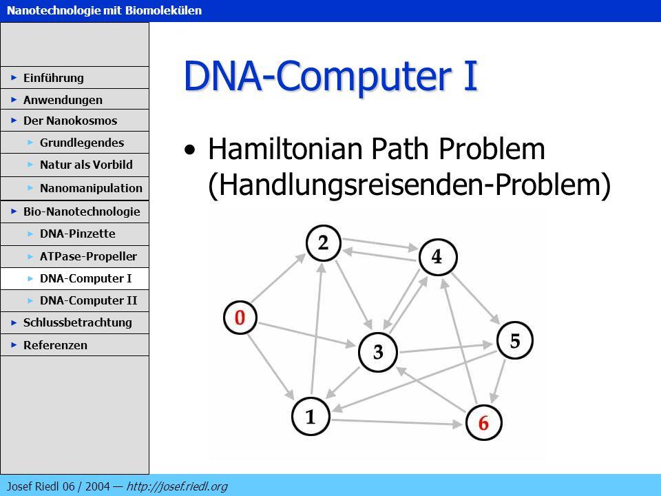 Nanotechnologie mit Biomolekülen Josef Riedl 06 / 2004 http://josef.riedl.org DNA-Computer I Hamiltonian Path Problem (Handlungsreisenden-Problem) Ein