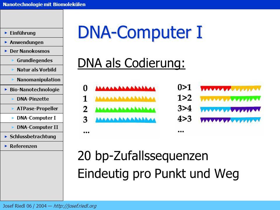 Nanotechnologie mit Biomolekülen Josef Riedl 06 / 2004 http://josef.riedl.org DNA-Computer I DNA als Codierung: 20 bp-Zufallssequenzen Eindeutig pro P