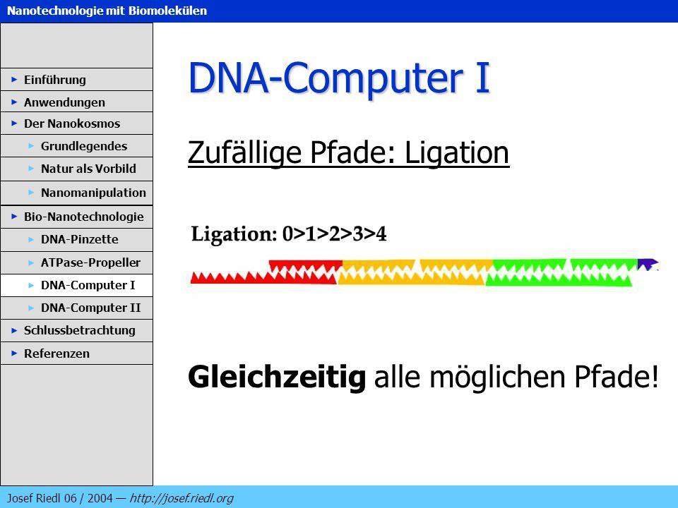 Nanotechnologie mit Biomolekülen Josef Riedl 06 / 2004 http://josef.riedl.org DNA-Computer I Zufällige Pfade: Ligation Gleichzeitig alle möglichen Pfa