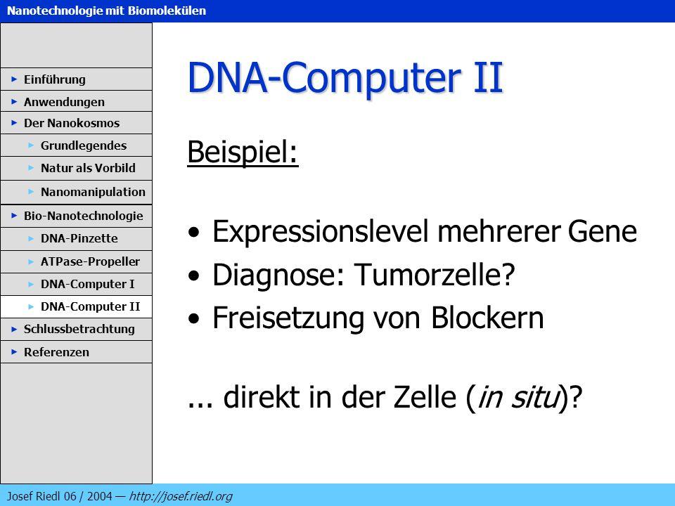 Nanotechnologie mit Biomolekülen Josef Riedl 06 / 2004 http://josef.riedl.org DNA-Computer II Beispiel: Expressionslevel mehrerer Gene Diagnose: Tumor