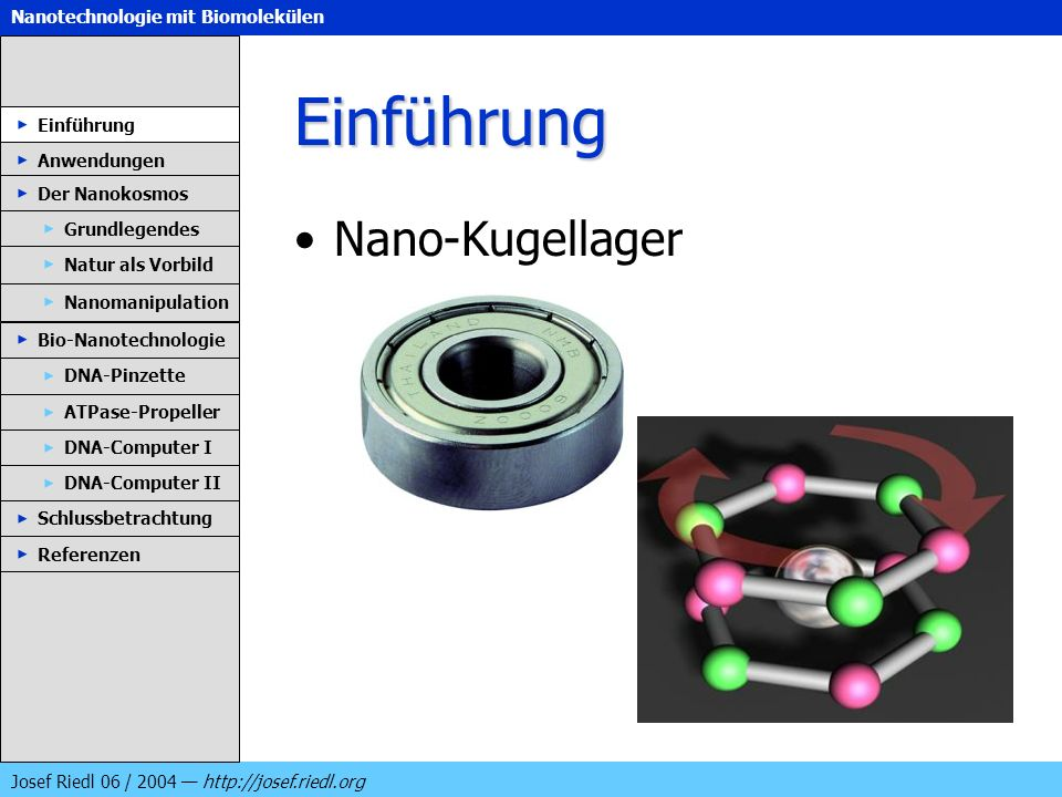 Nanotechnologie mit Biomolekülen Josef Riedl 06 / 2004 http://josef.riedl.org Einführung Nano-Kugellager Einführung Anwendungen Der Nanokosmos DNA-Pin