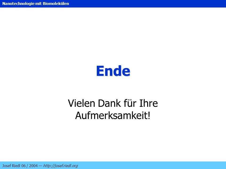 Nanotechnologie mit Biomolekülen Josef Riedl 06 / 2004 http://josef.riedl.org Ende Vielen Dank für Ihre Aufmerksamkeit!