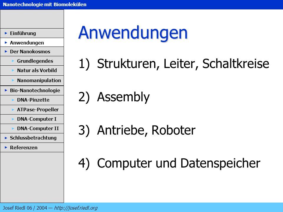 Nanotechnologie mit Biomolekülen Josef Riedl 06 / 2004 http://josef.riedl.org Anwendungen 1)Strukturen, Leiter, Schaltkreise 2)Assembly 3)Antriebe, Ro