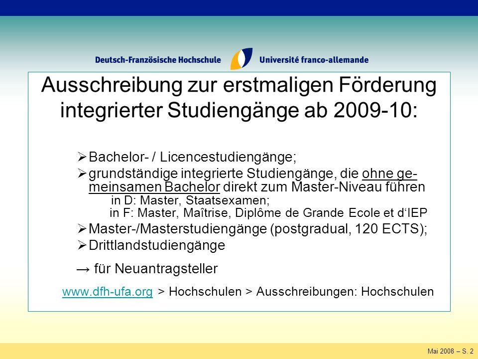 Mai 2008 – S.63 Vereinfachung der Rückerstattung der Salden Saldo aus 2007/08 (und ggf.