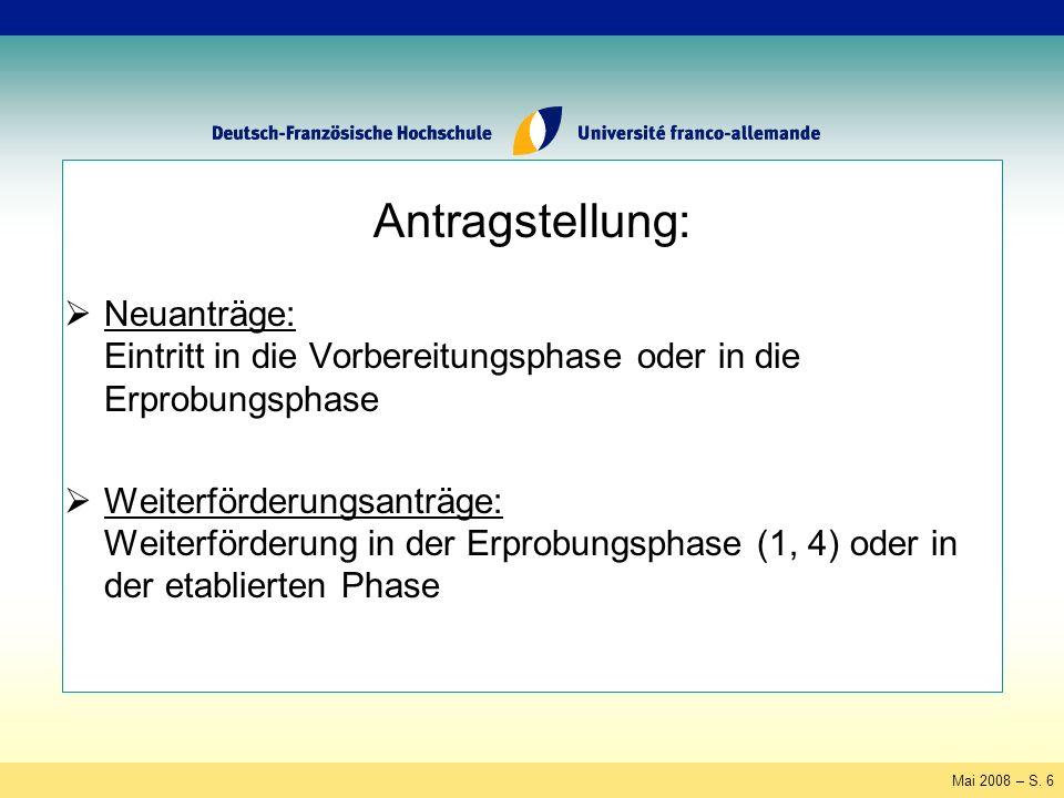 Mai 2008 – S.7 Antragsteller: Deutsch-französische Hochschulkooperationen, ggf.