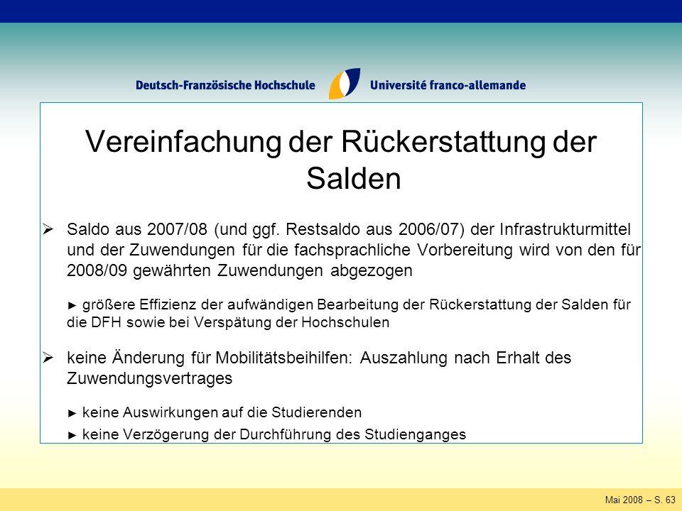 Mai 2008 – S. 63 Vereinfachung der Rückerstattung der Salden Saldo aus 2007/08 (und ggf.