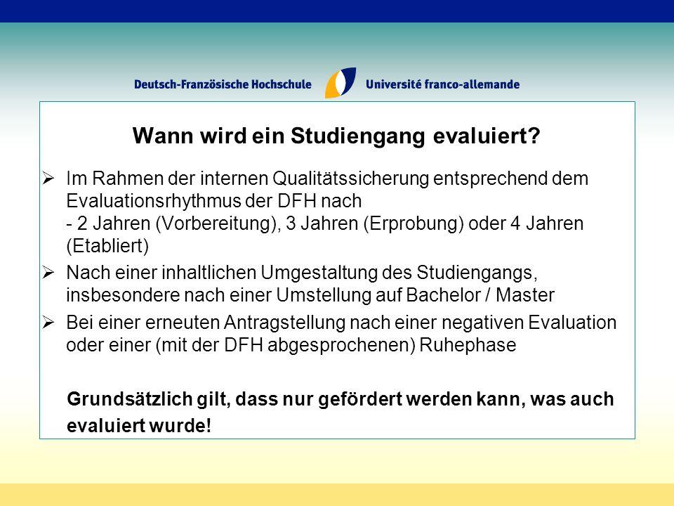 Wann wird ein Studiengang evaluiert.