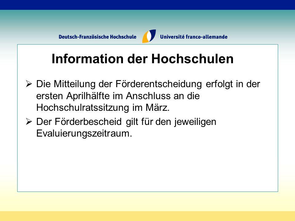 Information der Hochschulen Die Mitteilung der Förderentscheidung erfolgt in der ersten Aprilhälfte im Anschluss an die Hochschulratssitzung im März.
