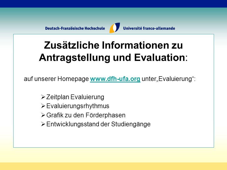 Zusätzliche Informationen zu Antragstellung und Evaluation: auf unserer Homepage www.dfh-ufa.org unterEvaluierung:www.dfh-ufa.org Zeitplan Evaluierung Evaluierungsrhythmus Grafik zu den Förderphasen Entwicklungsstand der Studiengänge