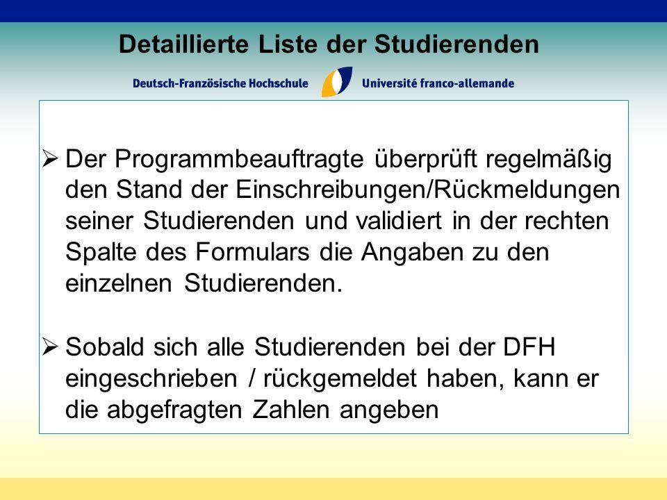 Detaillierte Liste der Studierenden Der Programmbeauftragte überprüft regelmäßig den Stand der Einschreibungen/Rückmeldungen seiner Studierenden und validiert in der rechten Spalte des Formulars die Angaben zu den einzelnen Studierenden.