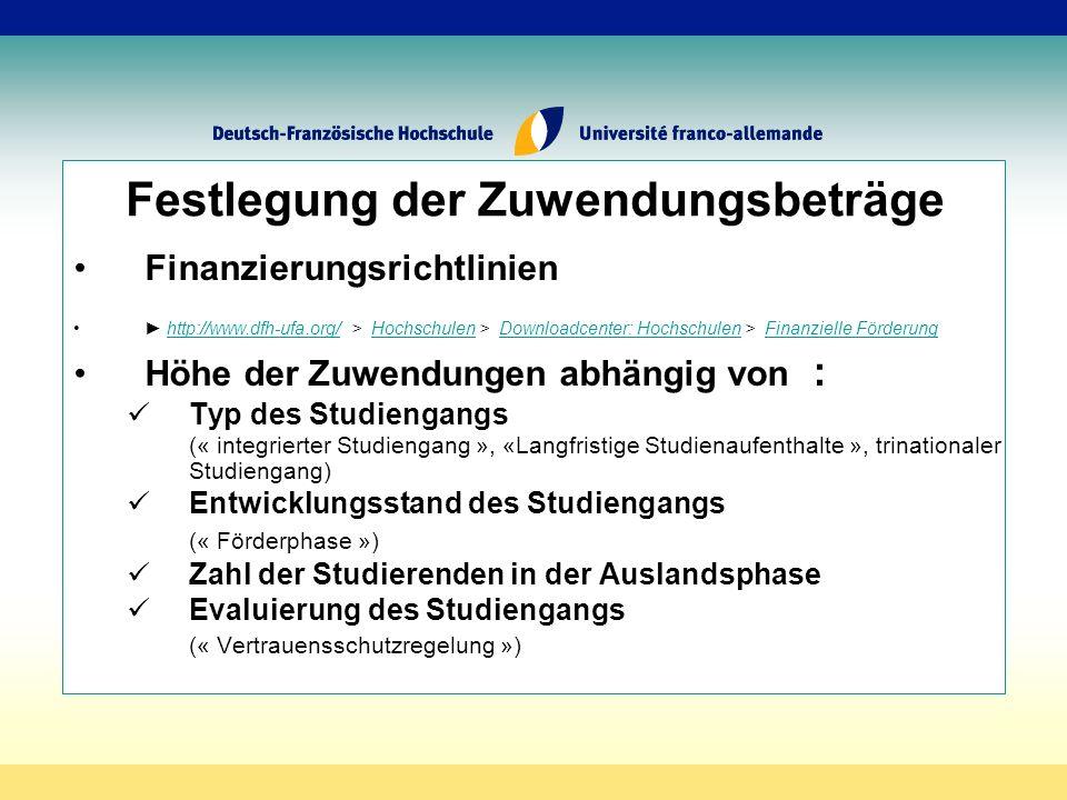 Festlegung der Zuwendungsbeträge Finanzierungsrichtlinien http://www.dfh-ufa.org/ > Hochschulen > Downloadcenter: Hochschulen > Finanzielle Förderunghttp://www.dfh-ufa.org/HochschulenDownloadcenter: HochschulenFinanzielle Förderung Höhe der Zuwendungen abhängig von : Typ des Studiengangs (« integrierter Studiengang », «Langfristige Studienaufenthalte », trinationaler Studiengang) Entwicklungsstand des Studiengangs (« Förderphase ») Zahl der Studierenden in der Auslandsphase Evaluierung des Studiengangs (« Vertrauensschutzregelung »)