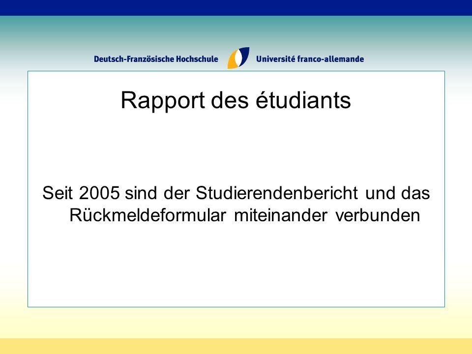Rapport des étudiants Seit 2005 sind der Studierendenbericht und das Rückmeldeformular miteinander verbunden