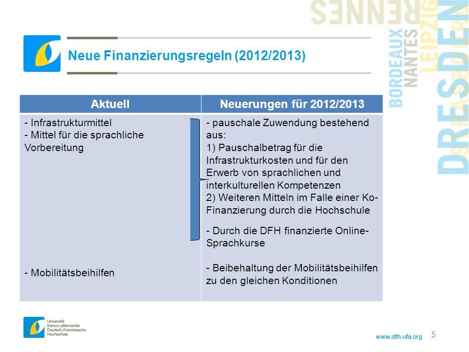 www.dfh-ufa.org 5 Neue Finanzierungsregeln (2012/2013) AktuellNeuerungen für 2012/2013 - Infrastrukturmittel - Mittel für die sprachliche Vorbereitung